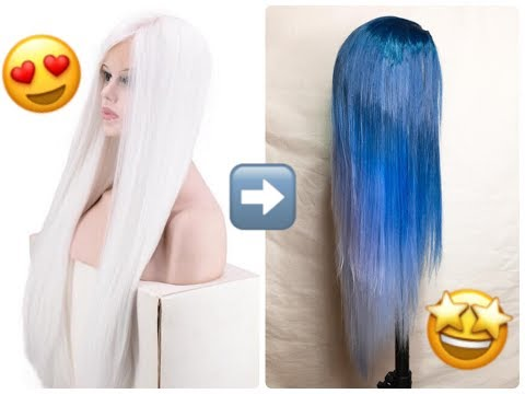 HOW TO DYE SYNTHETIC WIG | Permanent Dye| Blue Ombré