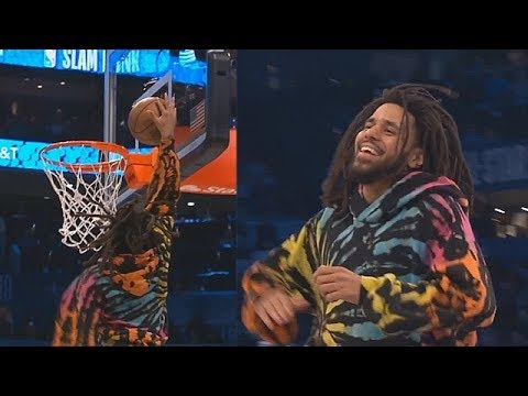 J. Cole Tries To Dunk In The 2019 NBA Dunk Contest! 2019 NBA All-Star Weekend