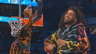 J. Cole Tries To Dunk In The 2019 NBA Dunk Contest! 2019 NBA All-Star Weekend Video