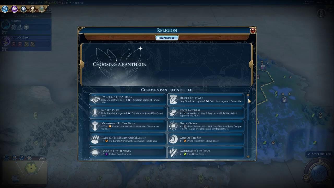 Civilization 6 ein Pantheon gründen
