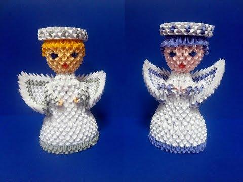 Рождественский ангел из 3D модулей видео-урок.