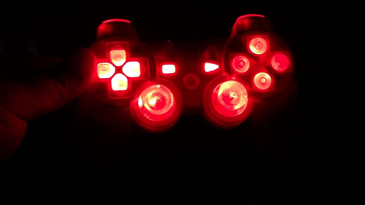 Led Modded Playstation 3 Controller With Red Lights On All