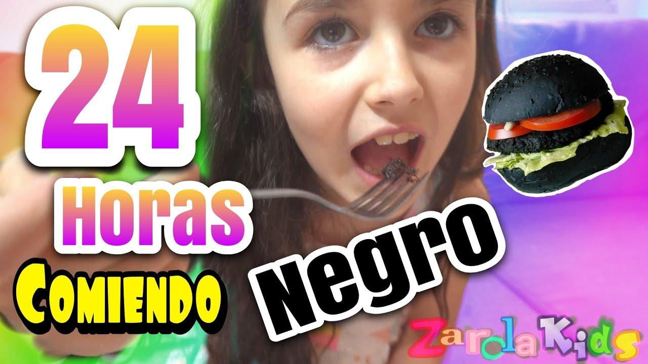 24 HORAS COMIENDO NEGRO | RETO zarolakids - Black Food Challenge -