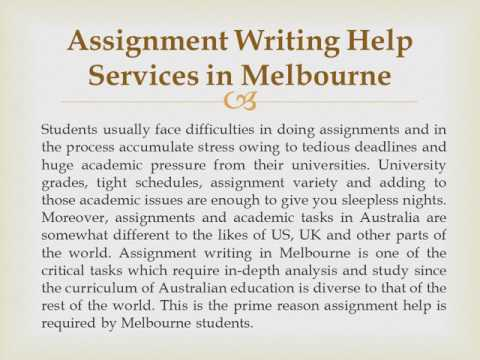 Assignment Writing Help Services In Melbourne