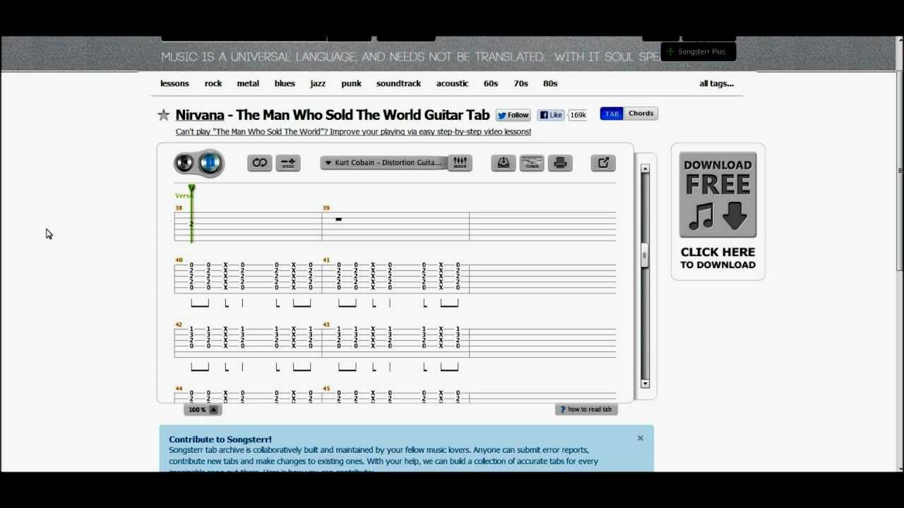 Nirvana the man who sold the world [tablature]