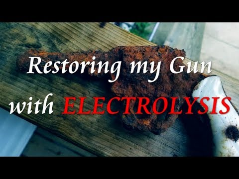How to remove rust by Electrolysis on a GUN I found Metal Detecting