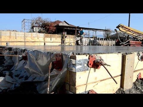Фундамент плита 300мм под дом из газобетона 10х10м
