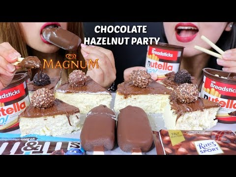 ASMR CHOCOLATE HAZELNUT PARTY (Nutella Cheesecake + Magnum Ice Cream) 리얼사운드 먹방 | Kim&Liz ASMR