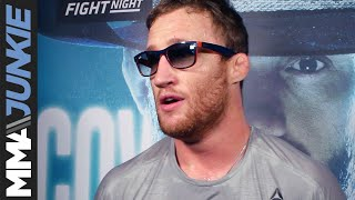 Justin Gaethje talks to media after UFC Vancouver open workout