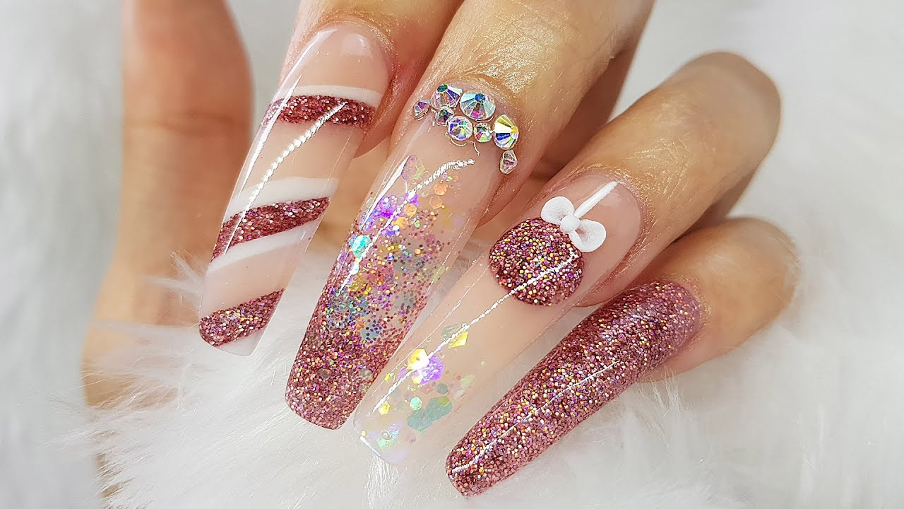 Acrylic Nails | Christmas Bauble Nails | Holographic glitter | Nude ...