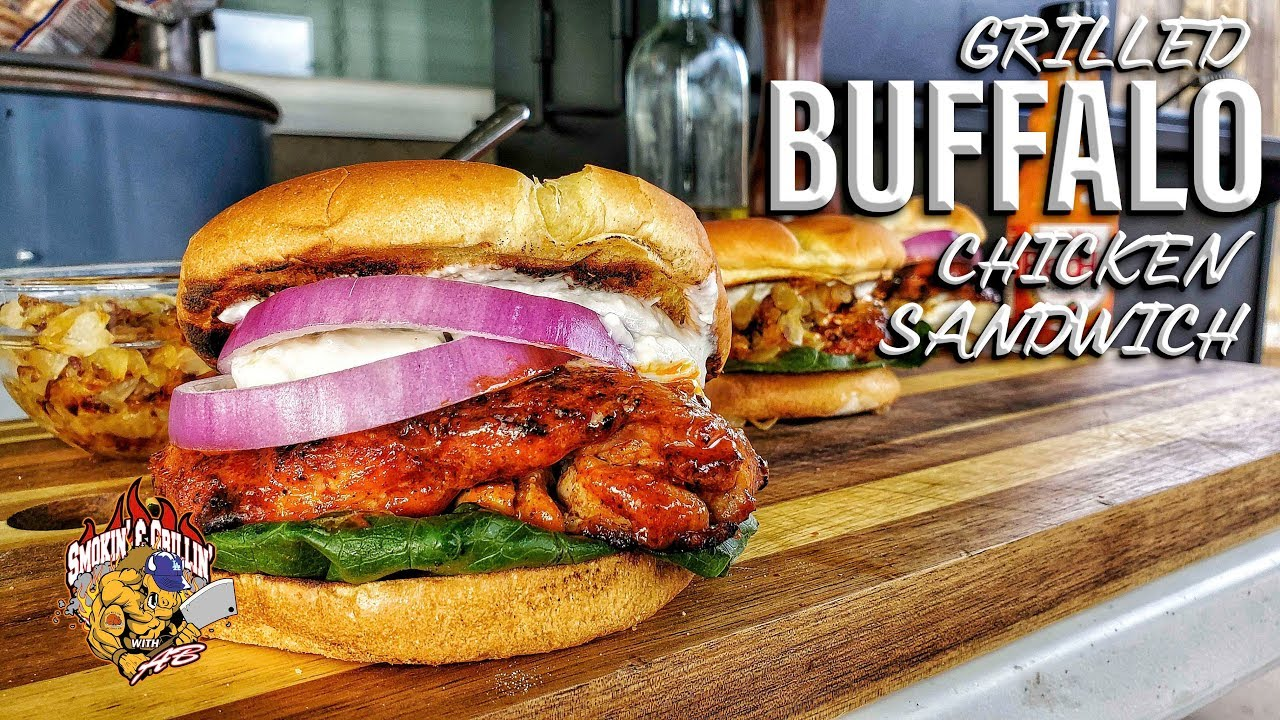 Grilled Buffalo Chicken Sandwich with Blue Cheese Sauce - YouTube