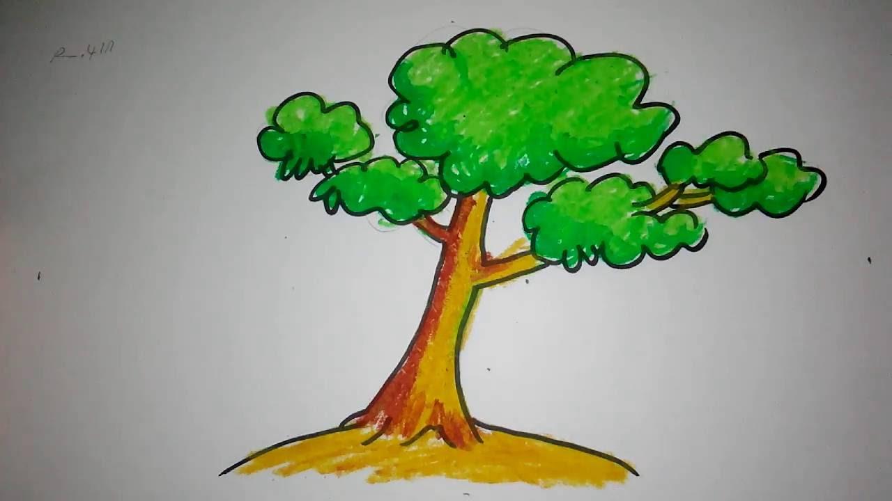 cara menggambar pohon untuk anak SD