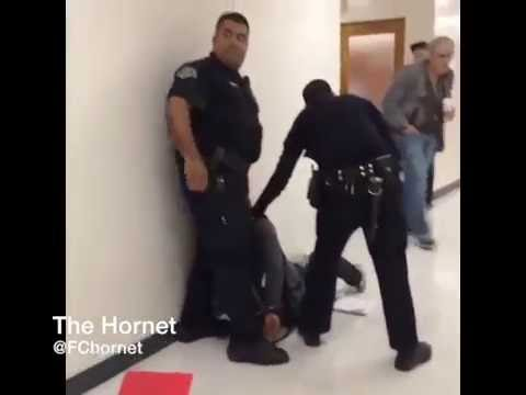 Fullerton College Campus Safety Officers subdue man in the 500 building