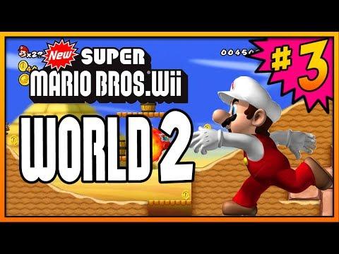 New Super Mario Bros Wii 100% Walkthrough Part 3 - World 2 (2-1, 2-2, 2-3 & 2-Tower) All Star Coins