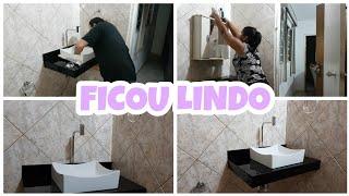 FIZEMOS UMA BANCADA DE PORCELANATO PARA O BANHEIRO DA MINHA MÃE❤