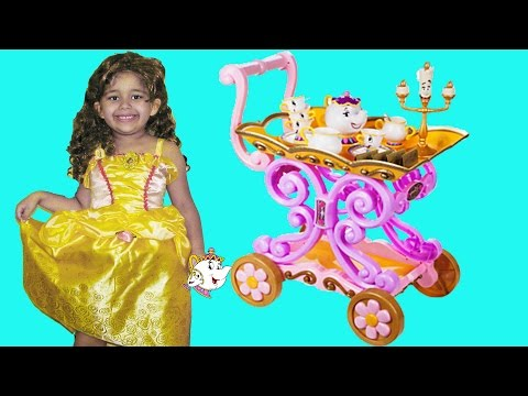Disney Princess Belle Tea Party with Queen Elsa and Princess Anna from Frozen Singing Tea Cart
