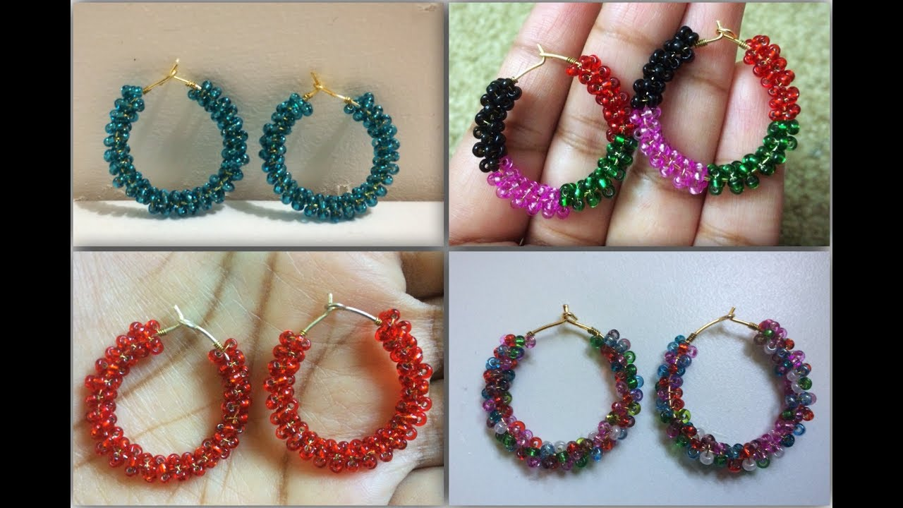 How To Make Seed Bead Hoop Earring Easy Tutorial