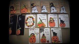 Handmade Halloween Pumpkin & Ghosts Greeting Crads   DIY Tutorial