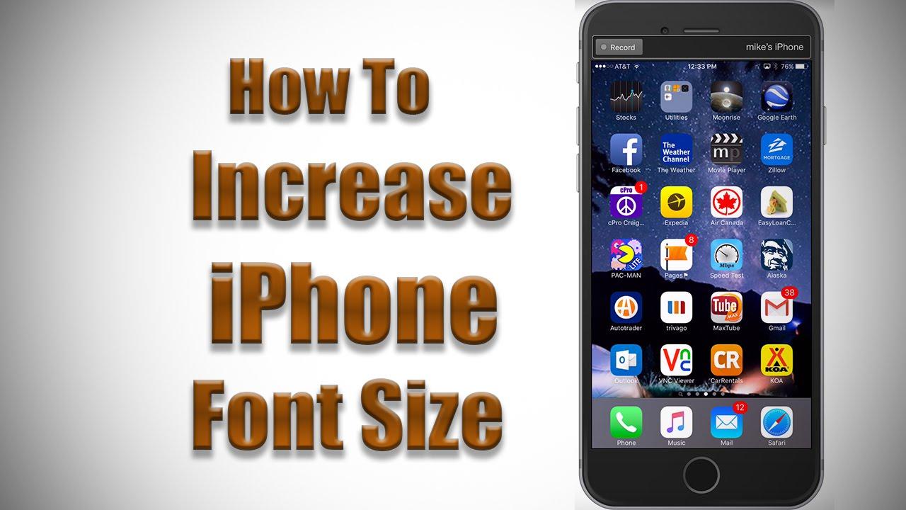 how to change font size on iphone 8