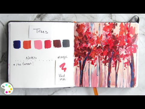 Simple Trees Painting Demo / Daily Art Therapy Painting #10 / Painting with Acrylics