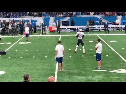Tom Brady warming up at Ford Field