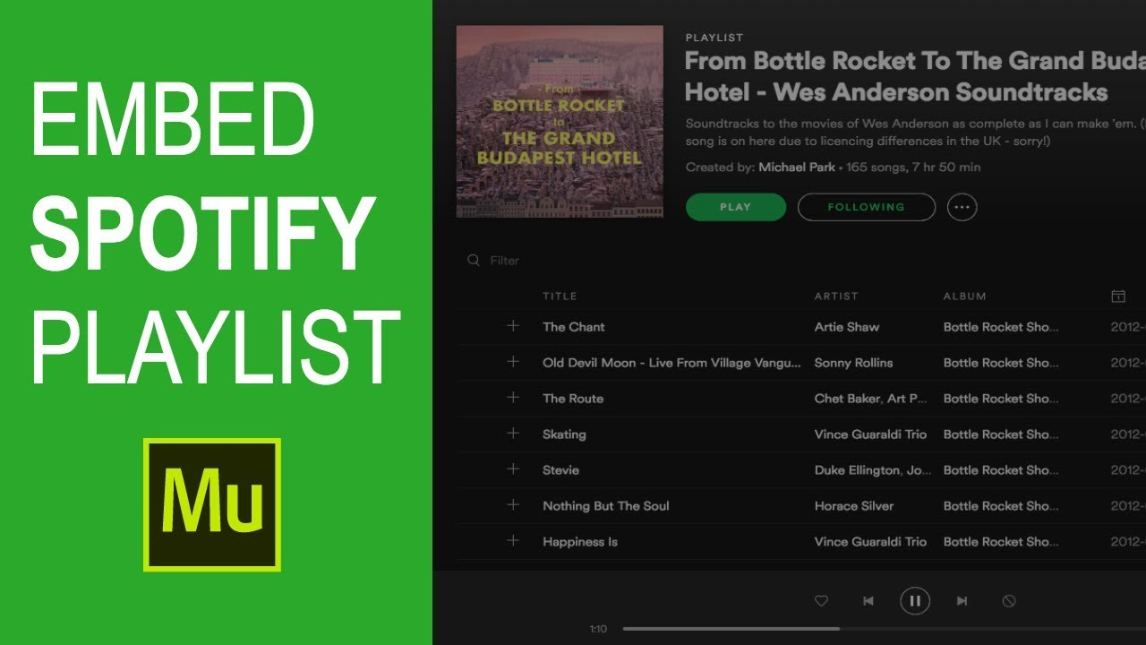 Embed Spotify playlist in Adobe Muse