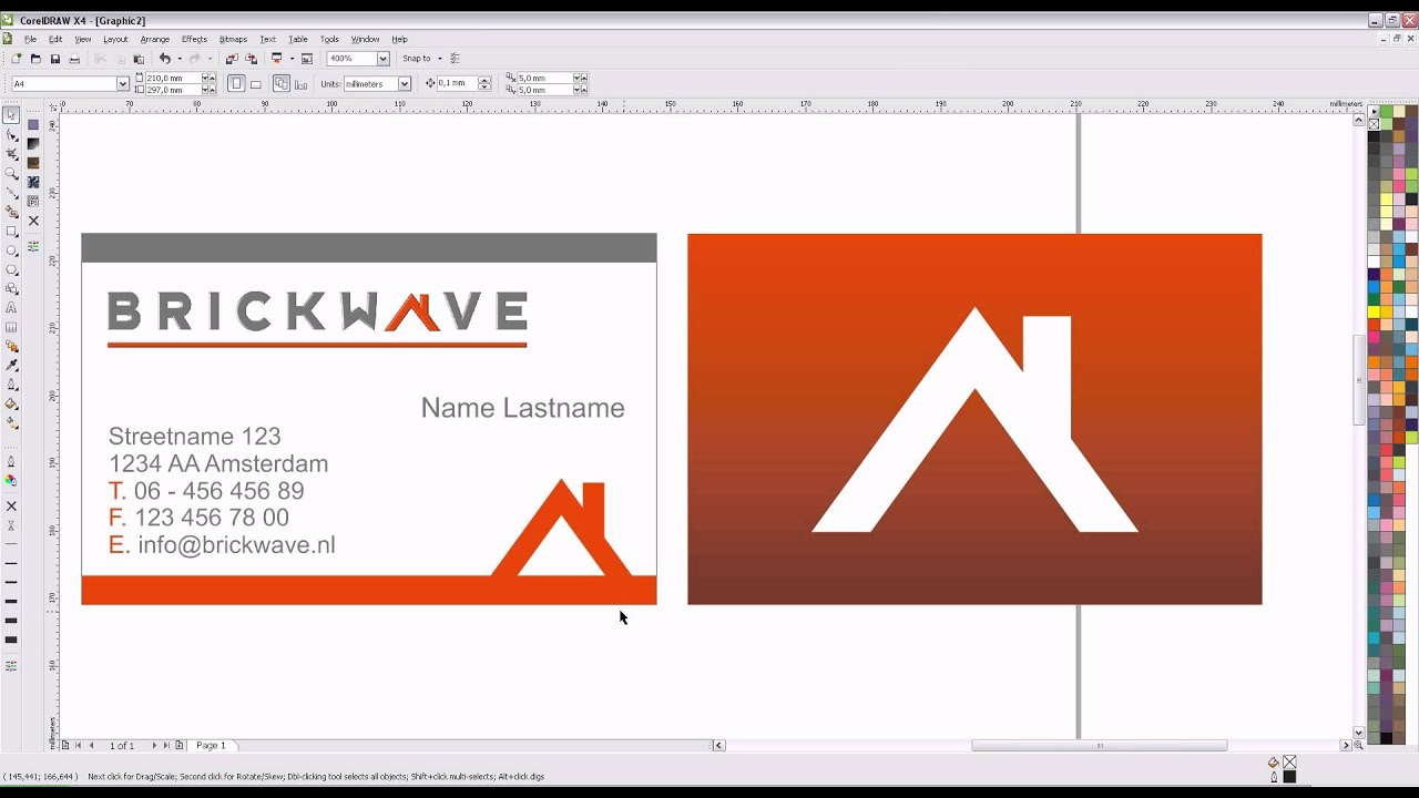 How to design a business card in coreldraw x4 youtube reheart Images