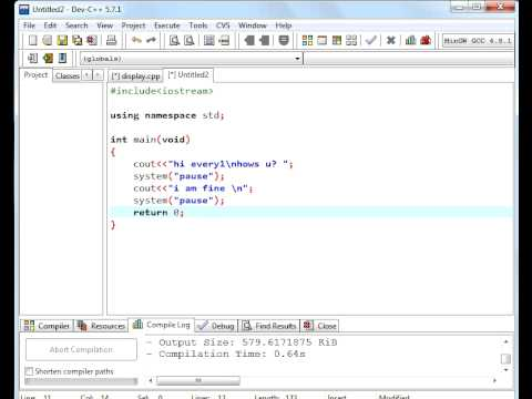 C++ Tutorial 1 for beginners Display message and use of ...