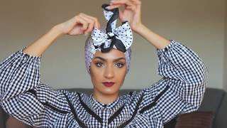 Cute Bow Turban Tutorial With Roua.  2 طريقه جديده للف التوربان الفيونكه