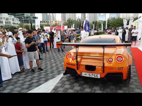 Nissan GTR Spitting Flames at Gulf Car Festival in Dubai!