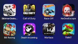 Stickman Destruction 3 Heroes,Call Of Duty Mobile,Hot Wheels,No One Escape,Death Incoming,Warface