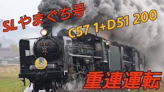JR西日本【C57 1号機】【D51 200号機】SLやまぐち号 重連運転  大山路踏切 本門前踏切 通過シーン