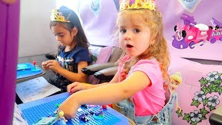 LEGO Disney Princess Carriage Train Ride! Kids Pretend Play, building and having fun