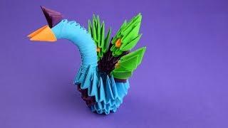 как сделать павлина из бумаги (оригами из модулей). Пошаговая сборка, мастер класс