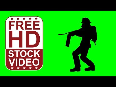 FREE HD video backgrounds - fireman silhouette loaded with gear extinguishes fire on green screen