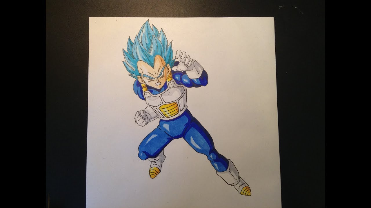 Speed drawing vegeta super saiyan blue dessin de vegeta en super saiyen blue youtube - Dessin de vegeta ...