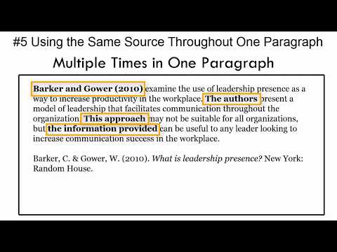 In-Text Citations: Mistake #5--Citing The Same Source Multiple Times In One Paragraph