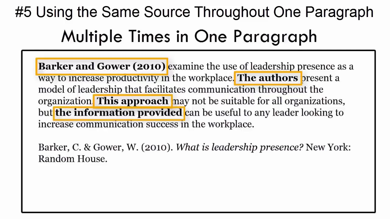 In Text Citation Mistake 5 Citing The Same Source Multiple Time One Paragraph Youtube How To Cite Author Apa