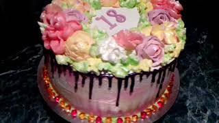 Торт Крещатый яр, украшенный сливочным кремом