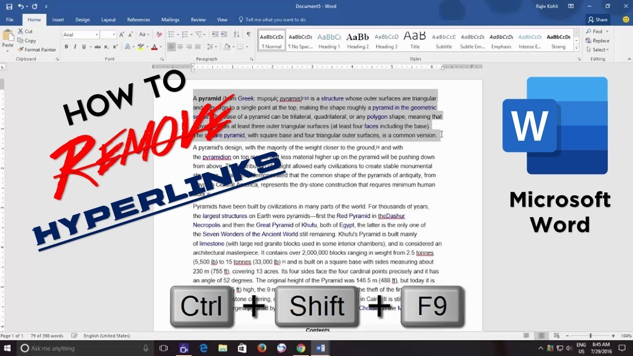 How to Remove All Hyperlinks from Word Document | Microsoft Word 2016 Tutorial