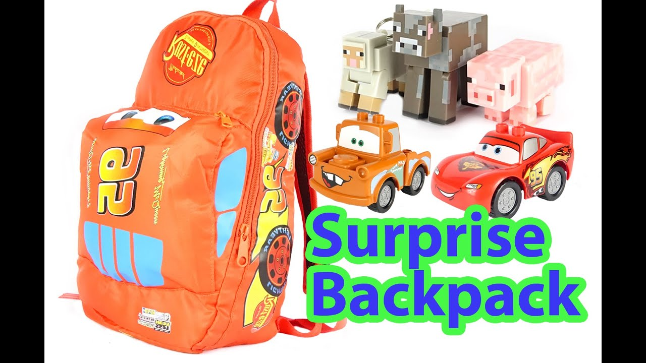 f4511ee3b5d SURPRISE BACKPACK DISNEY VEHICLES CARS 2 TOYS - Lightning Mcqueen Lego  Minecraft Characters