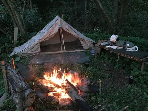 SOLO FISHING CAMP AND COOKING SALMON ON HOT STONE