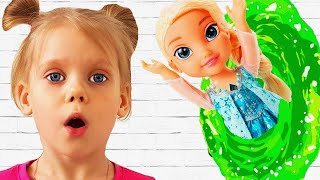 Doll Frozen Elsa, Vitalina and magic teleport on the playground! Pretend play for kids!