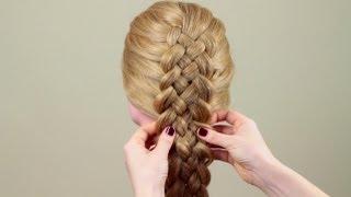 Косичка из пяти прядей. Обычный способ. Five strand braid