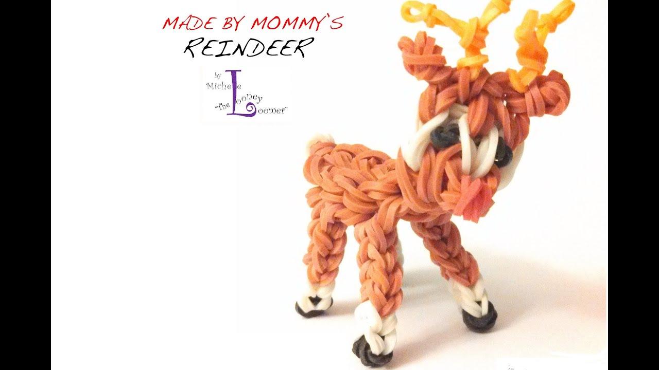 rainbow loom reindeer charm designed by michele the looney