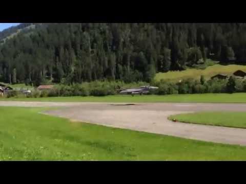 Hawker Hunter jet landing in St. Stephan, Switzerland