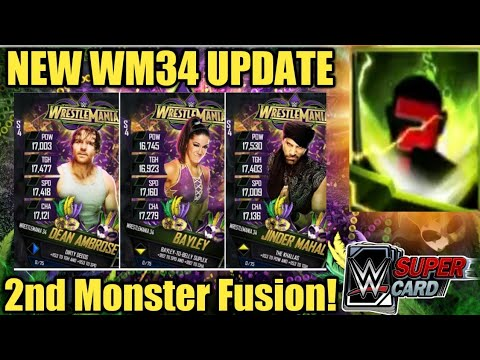 WRESTLEMANIA 34 TIER/CARDS UPDATE, FREE PACKS? MONSTER FUSION, TITAN PULLS + MORE! WWE SuperCard S4!