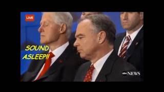 Wow! Bill Clinton Sleeps During Hillary's Big Speech!! Tim Kaine Panics! Slow Motion!