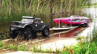 RC Boat Launch and Recovery. Jeep NuKizer 715, Traxxas DCB M41, Custom Trailer, Vaterra Ascender