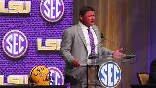 LSU head coach Ed Orgeron at SEC Media Days 2018